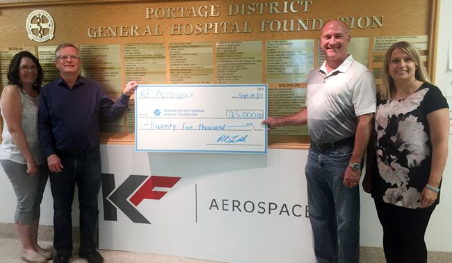 KF Aerospace donated $25,000 to the Portage District General Hospital Foundation's heliport project last week. (l-r) Jill Verwey, PDGHF board member, Dale Lyle, PDGHF chairman, Peter Fedak, KF Aerospace site manager and Erin Miller, PDGHF executive director. (Submitted)
