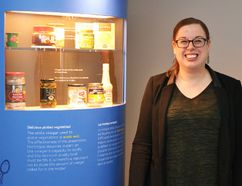 Kayla Droog, the Stratford Perth Museum's manager of education and public programs, stands next to one of the kiosks that makes up the museum's newest exhibit, A Taste of Science. (Galen Simmons/The Beacon Herald)