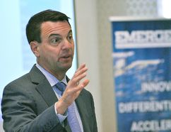 Tim Hudak, CEO of the Ontario Real Estate Association, speaks to realtors at the Emerge Conference held at Retro Suites Hotel in Chatham Oct. 4, 2017. (Tom Morrison/Postmedia Network)