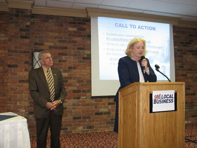 <p>Special guest  Lisa Raitt, the Conservative Party deputy leader, speaking at the Save Local Business Town Hall meeting that was organized by MP Guy Lauzon on Tuesday, October 3, 2017, in Cornwall, Ont. </p><p>