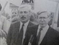 Former Norfolk MPP Norm Jamison, left, is seen here with former Ontario Premier Bob Rae during a campaign stop in Hagersville in the run-up to the 1990 provincial election. Jamison, 67, died Tuesday at this home in Port Rowan. (File photo)