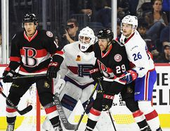 The Belleville Senators open their inaugural AHL season Friday at Laval. The B-Sens and Rocket met twice in the pre-season, each winning once in Laval. (Belleville Senators photo)