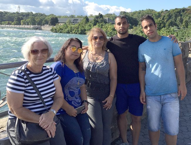 The Kincardine Refugee Committee recently provided an update on the Iranian refugee family that spent the last year in the community, before moving on to post-secondary opportunities in the Toronto area. Pictured: Kincardine Refugee committee member Joye Hunt is seen with the family in Niagara Falls. L-R: Joye Hunt, Yasaman, mother Mozhgan (Moji),  Amin and Ramin.