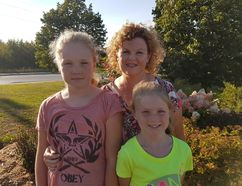 Sara Harasym/For The Sudbury Star Teacher turned author Tania Fay poses with her two daughters, Eile (left) and Mealla (right) outside Chapters. Fay has just self-published her first novel — the first in a fantasy series full of Irish folklore. Eile and Mealla not only appear in the book, they helped give her some story ideas. Fay is the daughter of the late Dr. William Patrick Fay, a much beloved nephrologist, who was a pioneer in dialysis treatment in the North.