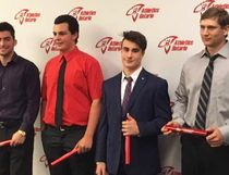 Saugeen Shores Track and Field Club athletes Jeremy Elliott (second from left) and  Ben Brewer (second from right) accept their Bantam and Midget Athletics Ontario awards Sept. 30 in Toronto. Submitted photo