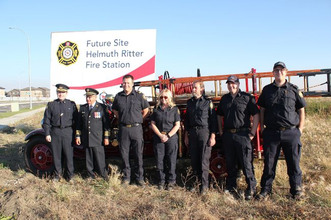 On Sept. 29, members of the Fort Saskatchewan Fire Department and city council were on hand to thank Helmuth Ritter on his 50-plus years of fire service by posting the name of the future second fire hall planned for Fort Saskatchewan's southern border.