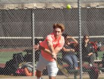 North Park Collegiate's Caleb Rees serves on Thursday at the Dufferin Tennis Club during the Brant County high school senior tennis championships. Rees and his partner, Jackson Kingshott, captured the boys doubles division. (Brian Smiley/The Expositor)