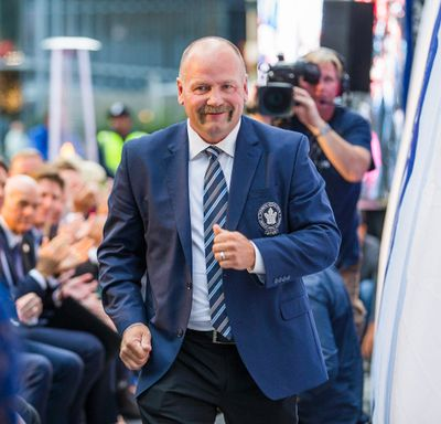 Toronto Maple Leafs alumnus Wendel Clark walks up to speak as he is officially announced of the unveiling of his bronze statue for Leafs Legends Row outside of the Air Canada Centre in Toronto, Ont.  on Thursday October 5, 2017. Ernest Doroszuk/Toronto Sun/Postmedia Network