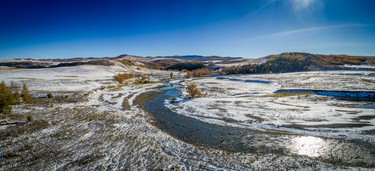 The south fork of Willow Creek joins the main branch in the snowy Porcupine Hills on Tuesday, October 3, 2017. Mike Drew/Postmedia