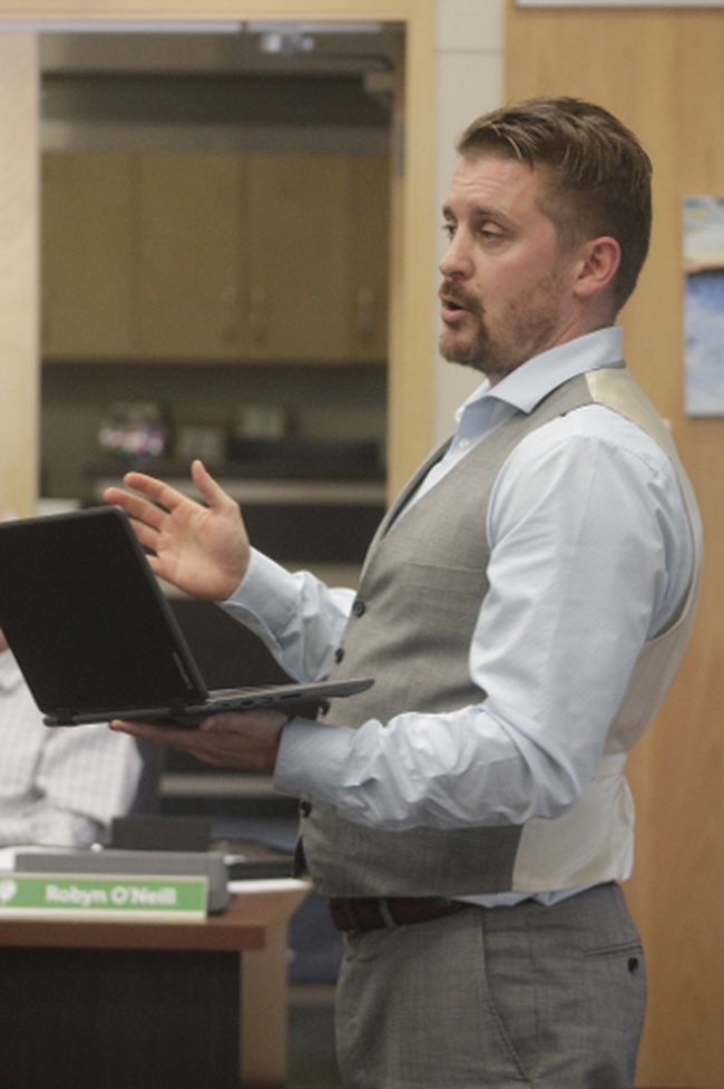 Jason Yaremchuk, Northern Gateway Public Schools director of information technology, presented to trustees on how technology is being incorporated into the classroom in new ways, during a board meeting on Oct. 3 (Joseph Quigley | Mayerthorpe Freelancer).