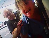 In this July 26, 2017, frame grab from video taken from a police body camera and provided by attorney Karra Porter, nurse Alex Wubbels is arrested by Det. Jeff Payne at University Hospital in Salt Lake City. (Salt Lake City Police Department/Courtesy of Karra Porter via AP, File)