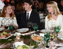 Prime Minister Justin Trudeau, wife Sophie Gregoire Trudeau and Ivanka Trump look on during the Fortune Most Powerful Women Summit and Gala in Washington, D.C., on Tuesday, Oct. 10, 2017. (Sean Kilpatrick/The Canadian Press)