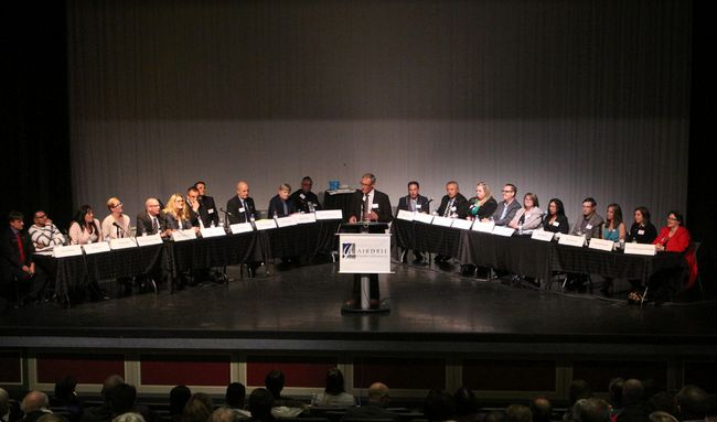 Council candidates in the 2017 Airdrie Municipal Election await questions from the public during the forum on Oct. 3, 2017 at Bert Church Theatre.