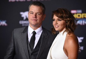"""Matt Damon, left, and Luciana Barroso arrive at the world premiere of """"Thor: Ragnarok"""" at the El Capitan Theatre on Tuesday, Oct. 10, 2017, in Los Angeles. (Photo by Chris Pizzello/Invision/AP)"""