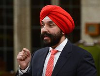 Innovation, Science and Economic Development Minister Navdeep Singh Bains stands during question period in the House of Commons on Parliament Hill in Ottawa on Friday, June 9, 2017. THE CANADIAN PRESS