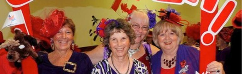 Some of the Hanover Red Hat Mammas at the Red Hat Society's Grey Bruce Queen's Council Fall Fling.