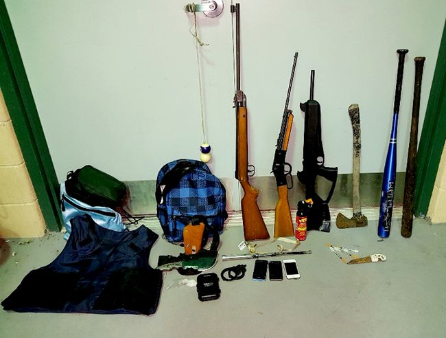 The Gananoque Police Service released this image of weapons seized in town on Tuesday. (SUBMITTED PHOTO)