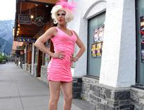 Miss Ellen Q dazzles on Banff Avenue in 2014 promoting the upcoming Banff Pride show. Justin Parsons/ Crag & Canyon Archives