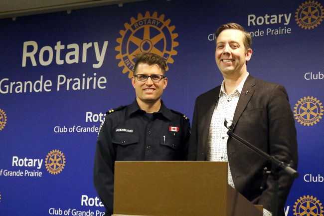 Mike Anderson and Dean Radbourne, organizers of Breakfast With the Guys, spoke about the upcoming annual event at the Rotary Club luncheon on Friday in Grande Prairie. Kevin Hampson/Daily Herald-Tribune