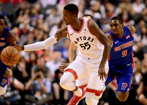 Toronto Raptors guard Delon Wright makes a steal during NBA action against the Detroit Pistons in Toronto on Oct. 10, 2017. (THE CANADIAN PRESS/Frank Gunn)