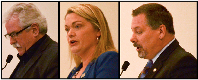 Left to right: Candidates Rex Adam, Katie Berghofer and Floyd House  Photos by Krysta Martell/Sherwood Park News