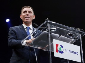 Ontario Progressive Conservative Leader Patrick Brown delivers a speech at the Ontario Progressive Conservative convention in Ottawa, Saturday, March 5, 2016. FRED CHARTRAND / THE CANADIAN PRESS