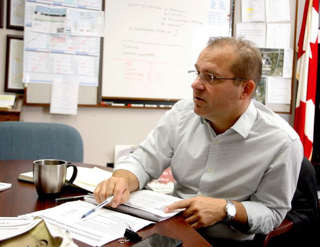 Brockville Mayor David Henderson discusses the proposed 2018 budget in his office on Thursday. (RONALD ZAJAC/The Recorder and Times)