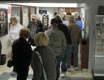 Voters wait in line to cast their ballots during Advance Poll #2 at Lacombe City Hall on Wednesday, Oct, 11, 2017. (City of Lacombe photo)