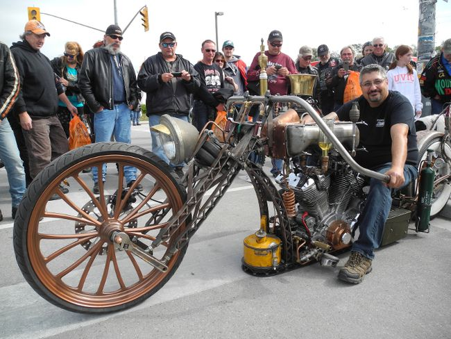 """There were many head-turning customized bikes at the Friday the 13th motorcycle rally in Port Dover. This """"steam punk rat bike"""" is the brainchild of John Consentini of Motorcycle Enhancements in Oakville. MONTE SONNENBERG / SIMCOE REFORMER"""