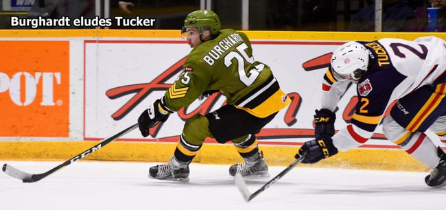 North Bay Battalion forward Luke Burghardt (25) in action against the Barrie Colts, Saturday. Sean Ryan Photo / Courtesy of Battalionhockey.com