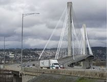 Traffic travels eastbound into Surrey on the Port Mann Bridge in March 2016. (Ric Ernst/Postmedia)