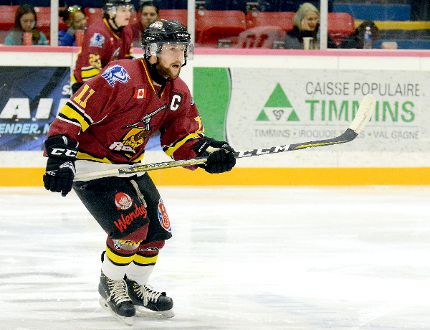Timmins Rock captain Wayne Mathieu, shown here in action during a game against the Soo Thunderbirds at the McIntyre Arena on Sept. 10, scored his first two goals of the 2017-18 NOJHL season Sunday night against the Rapids in French River. It was not enough, however, as the Rapids defeated the Rock 4-3 despite being outshot 60-39 by the visitors. The Rock will travel to Powassan for a game against the Voodoos Monday night. THOMAS PERRY/THE DAILY PRESS