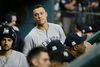 New York Yankees' Aaron Judge looks around the dugout during Game 1 of the ALCS against the Houston Astros on Oct. 13, 2017. (AP Photo/Tony Gutierrez)