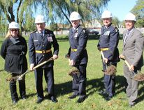 From left: Jocelyne Newton of Infastructure Ontario, OPP deputy Comm. Brad Blair, Comm. Vince Hawkes, Chief Supt. Rick Philbin and London Mayor Matt Brown participate in a ground-breaking ceremony for the OPP's new communications centre in London on Monday, Oct. 16, 2017. (DALE CARRUTHERS, The London Free Press)