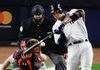 Yankees' Aaron Judge hits a three-run home run during the fourth inning of Game 3 of the AL Championship Series against the Astros in New York on Monday, Oct. 16, 2017. (Frank Franklin II/AP Photo)