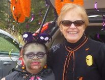 Kathy Maltby poses with a young spook during Algoma Autism Foundation's Trunk or Treat on the weekend. The event took place in the parking lot of Northwood Funeral Home and brought out 160 children with special needs. Thirty local groups and organizations participated. It provided the children with a non-threatening and accessible opportunity to trick-or-treat. Sara McCleary/Special to Sault This Week