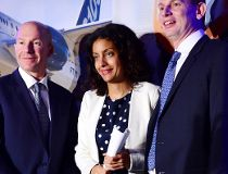 Bombardier president and CEO Alain Bellemare, left to right, Quebec Deputy Premier and Minister of Economy, Science and Innovation Dominique Anglade and president Canada and chief operating officer of North America for Airbus Helicopters Romain Trapp spea