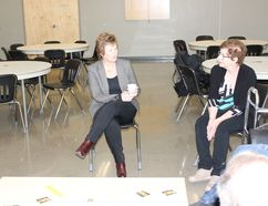 Saskatchewan Party leadership candidate Alanna Koch talked with visitors at her meet and greet at the Kerry Vickar Centre on Tuesday, October 10.