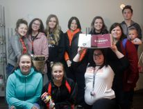 Members of the Mayerthorpe Senior Girls volleyball team helped at the Mayerthorpe Food Bank on Oct. 12, the team also held a food drive during their home tournament on the weekend. Above are members of the team and staff from the Mayerthorpe Food Bank (Joseph Quigley | Mayerthorpe Freelancer).