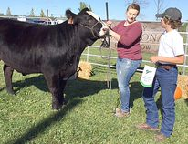 Melissa MacIntyre exhibited a steer at the T Bone Show and Sale at the Ripley Fair on Saturday Sept. 30, 2017. Cole and Troy Snobelen of Snobelen Farms were the proud buyers.