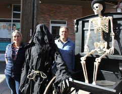 Jennifer Turcotte, The Reaper, Mike Turcotee and, well, we aren't sure who that used to be on Tuesday, getting ready for a ghost walk. The small group is promoting The Ghost Walk for Charity, a first for Cornwall and area. Lois Ann Baker/Cornwall Standard-Freeholder