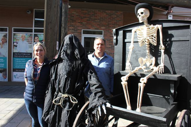 Jennifer Turcotte, The Reaper, Mike Turcotee and, well, we aren't sure who that used to be on Tuesday, getting ready for a ghost walk. The small group is promoting The Ghost Walk for Charity, a first for Cornwall and area.