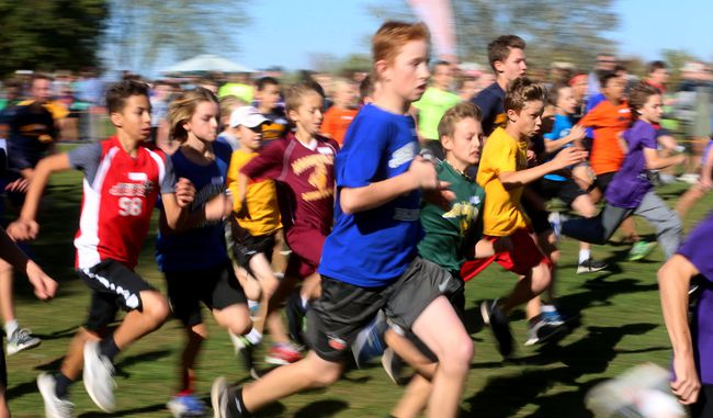 The grade 7 boys race heads off on their 2.5 km race during the 19th annual Thames Valley cross-country finals at Fanshawe Conservation Area on Tuesday October 17, 2017. Over 1,400 students from grades 3-8 raced in distances ranging from 1.5, 2 and 2.5 kilometres. They also held a Special Olympics race for students with developmental considerations. (MIKE HENSEN, The London Free Press)