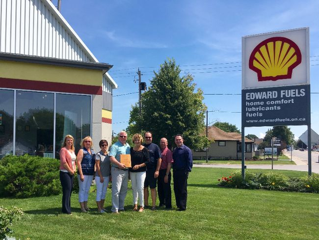 Don and Lynn Edward accept a plaque in honour of Edward Fuels 65 years as a Shell Branded Distributor. They are surrounded by long-serving staff members who have a combined 100 years with Edward Fuels: (second from left) Maura Clarke, (third from left) Diane Leslie, and (third from right) Rob Jeffrey. Also in the photo are Shell managers: (far left) Liz Lyle of Calgary, (second from right) Michael Lacasse of Montreal, and (far right) Tony Ciolfitto of Toronto. (Contributed photo)
