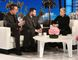 """In this Oct. 17, 2017, photo released by Warner Bros., Stephen Schuck, left, and Jesus Campos appear with host Ellen Degeneres during a taping of """"The Ellen DeGeneres Show"""" at the Warner Bros. lot in Burbank, Calif. (Photo by Michael Rozman/Warner Bros.)"""