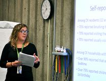 Laura Zettler, an epidemiologist with the Chatham-Kent Public Health Unit, presents the findings of a report she conducted on the area's oral health status to the Chatham-Kent Board of Health on Wednesday, October 18, 2017. (Tom Morrison/Postmedia Network)