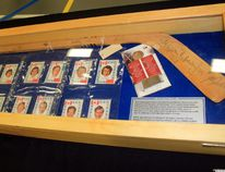 Sean Chase/Daily Observer This hockey stick and cards were one of several displays by Hockey Canada during an Algonquin College Speaker Series presentation that recounted the 1972 Summit Series.