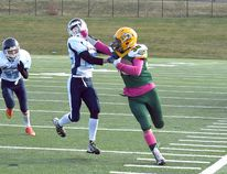 The Sherwood Park Rams got in the face of the Edmonton Mustangs during a 45-20 win on Sunday. Photo Courtesy Michelle Hayden