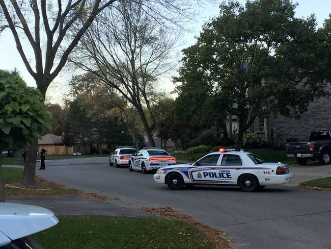 London police descended on a home in Byron Wednesday night after false reports of a man with a gun were called in to police from a South African number. Charges are pending for two people. (Robert Thompson/Facebook)