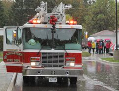 Kincardine Fire Department was busy during Fire Prevention Week from October 9-13, 2017 providing fire safety information and included a real life fire drill at 952 Huron Terrace Kincardine. The fire department would like to stress the importance of keeping up to date with smoke alarms in homes and the importance of having a family evacuation plan in case of a fire situation. (Ryan Berry/ Kincardine News and Lucknow Sentinel)